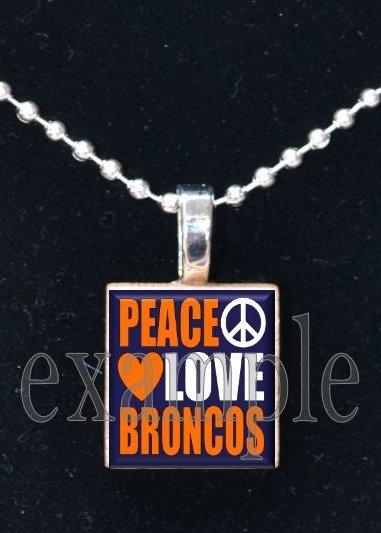 PEACE LOVE BRONCOS Navy, White & Orange Team Mascot Pendant Necklace or Keychain