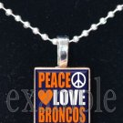 PEACE LOVE BRONCOS Navy, White & Orange Team Mascot Pendant Necklace or Keychain