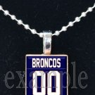 BRONCOS PERSONALIZED JERSEY Navy, White & Orange Team Mascot Pendant Necklace or Keychain