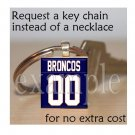 BRONCOS Navy, White & Orange Team Mascot PERSONALIZED JERSEY Keychain