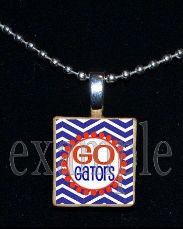 GO GATORS Blue & Orange Team Mascot Pendant Necklace Charm or Keychain
