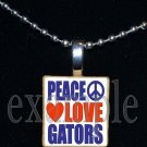 PEACE LOVE GATORS Blue & Orange Team Mascot Pendant Necklace or Keychain