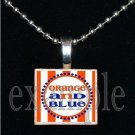 """ORANGE AND BLUE"" GATORS Blue & Orange Team Mascot Pendant Necklace or Keychain"