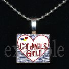 CARDINALS GIRL Baseball Red, White & Blue Team Mascot Pendant Necklace or Keychain