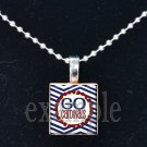 GO CARDINALS Baseball Red, White & Blue Team Mascot Pendant Necklace or Keychain