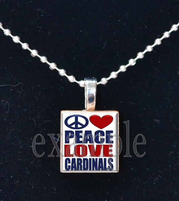 PEACE LOVE CARDINALS Baseball Red, White & Blue Team Mascot Pendant Necklace or Keychain