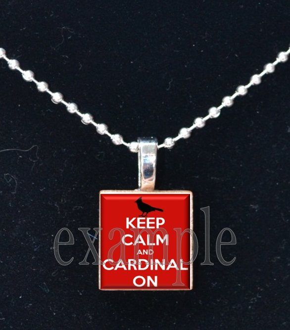 KEEP CALM AND GO CARDINALS Red, White, Black & Yellow Team Mascot Pendant Necklace or Keychain