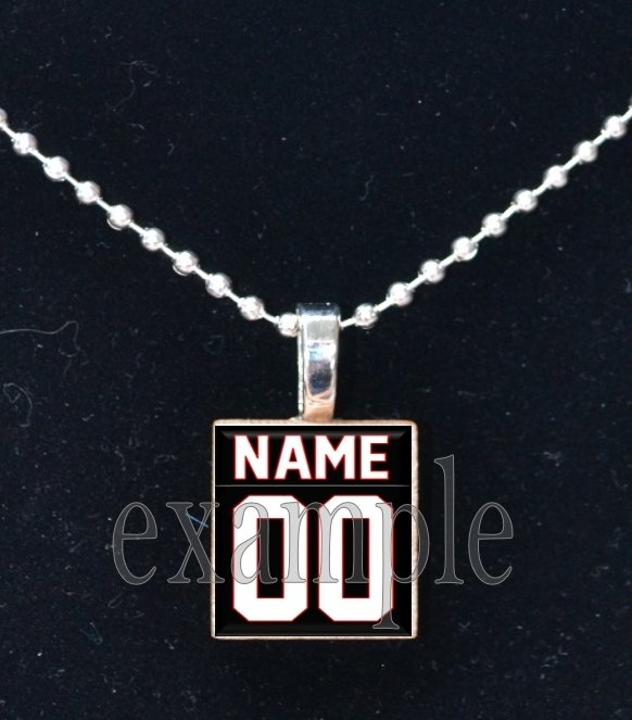 CARDINALS PERSONALIZED JERSEY Red, White, Black & Yellow Team Mascot Pendant Necklace or Keychain
