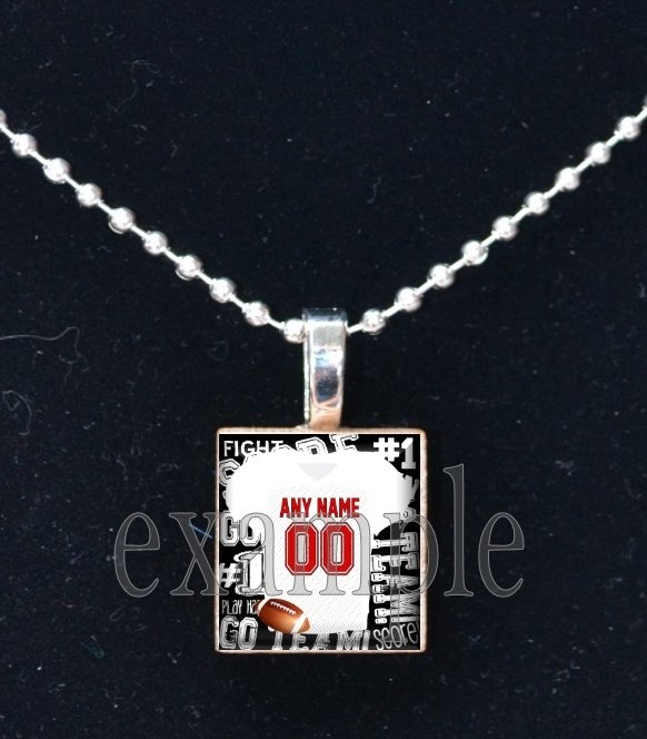CARDINALS PERSONALIZED FOOTBALL JERSEY Team Mascot Pendant Necklace or Keychai