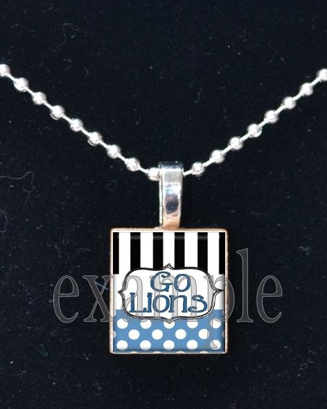 GO LIONS Blue, Silver, Black & White Team Mascot Pendant Necklace or Keychain