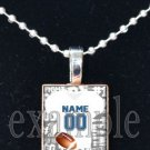 LIONS PERSONALIZED FOOTBALL JERSEY Blue, Silver, Black & White Team Pendant Necklace or Keychain