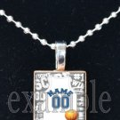 LIONS PERSONALIZED BASKETBALL JERSEY Blue, Silver, Black & White Team Pendant Necklace or Keychain