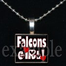 FALCONS GIRL Red, Black & White Team Mascot Pendant Necklace Charm or Keychain
