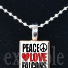 PEACE LOVE FALCONS Red, Black & White Team Mascot Pendant Necklace or Keychain