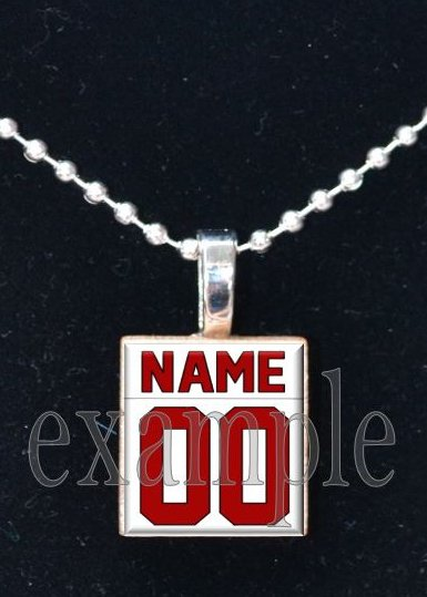 FALCONS PERSONALIZED JERSEY Red, Black & White Team Mascot Pendant Charm Necklace or Keychain