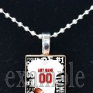 FALCONS PERSONALIZED FOOTBALL JERSEY Red, Black & White Team Mascot Pendant Necklace or Keychain