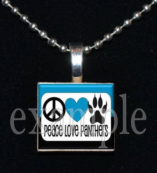 PEACE LOVE PANTHERS Black, Blue, Silver & White Team Mascot Pendant Necklace or Keychain