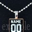 PANTHERS PERSONALIZED JERSEY Black, Blue, Silver & White Team Mascot Pendant Necklace or Keychain