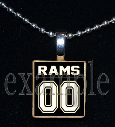 RUCKEL RAMS Personalized Jersey Team Mascot Pendant Necklace or Keychain