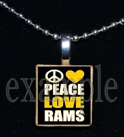 PEACE LOVE RUCKEL RAMS Team Mascot Pendant Necklace or Keychain