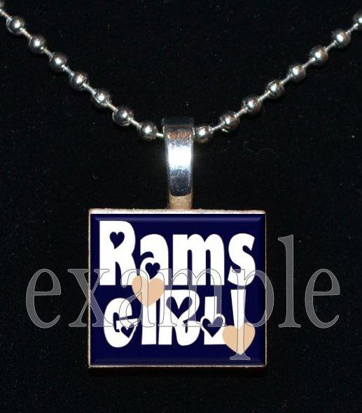 RAMS GIRL Blue, Gold & White Team Mascot Pendant Choices