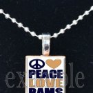 PEACE LOVE RAMS Blue, Gold & White Team Mascot Pendant Choices