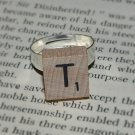 Initial Mini Natural Wood Scrabble Tile Ring
