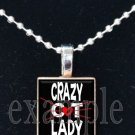 CRAZY CAT LADY Personalized Photo Custom Image Scrabble Necklace Charm Keychain