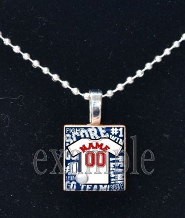 Personalized Custom Name Team BASEBALL Jersey Scrabble Necklace Charm Key-chain