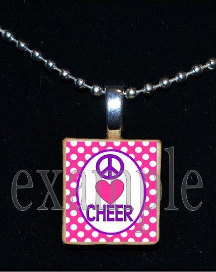 PEACE LOVE Cheer Cheerleader Personalized Scrabble Necklace Pendant Charm Key-chain GiFt