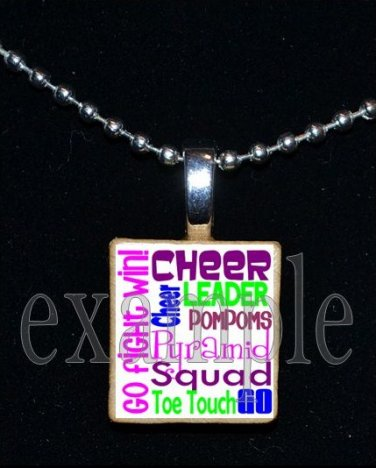 CHEER Cheerleader Personalized SUBWAY ART Scrabble Necklace Pendant Charm Key-chain Gift