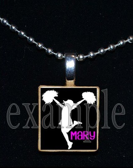 Cheer Cheerleader Personalized NAME Scrabble Necklace Pendant Charm or Key-chain