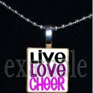 LIVE LOVE CHEER Cheerleader Personalized Scrabble Necklace Pendant Charm or Key-chain