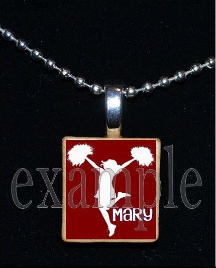 Cheer Cheerleader Personalized Scrabble Necklace Pendant Charm or Key-chain
