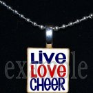 LIVE LOVE Cheer Cheerleader Scrabble Necklace Pendant Charm or Key-chain