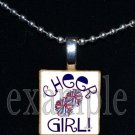 Cheer Cheerleader GIRL Scrabble Necklace Pendant Charm or Key-chain