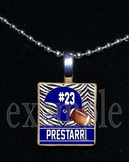 Personalized Custom Name Team FOOTBALL HELMET Scrabble Tile Necklace Charm Keychain