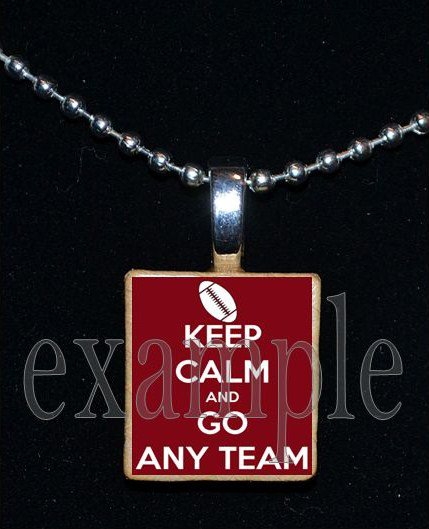 """KEEP CALM AND GO """"ANY TEAM"""" Personalized Name FOOTBALL Scrabble Tile Necklace Charm Keychain"""
