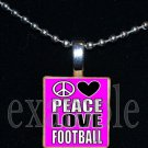 PEACE LOVE FOOTBALL Scrabble Tile Necklace Charm Keychain
