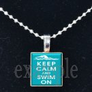 Keep Calm and Swim On Scrabble Tile Pendant Necklace Charm Key-chain