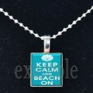 Keep Calm and Beach On Scrabble Tile Pendant Necklace Charm Key-chain