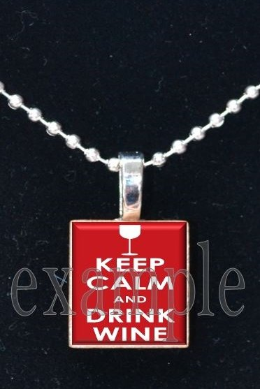 Keep Calm and Drink Wine Scrabble Tile Pendant Necklace Charm Key-chain