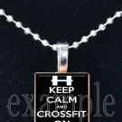 Keep Calm and Crossfit On Scrabble Tile Pendant Necklace Charm Key-chain