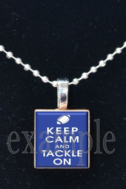 Keep Calm and Tackle On Scrabble Tile Pendant Necklace Charm Key-chain