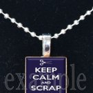 Keep Calm and Scrap On Scrabble Tile Pendant Necklace Charm Key-chain