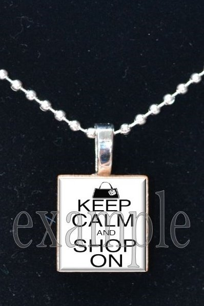 Keep Calm and Shop On Scrabble Tile Pendant Necklace Charm Key-chain
