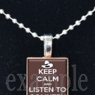 Keep Calm and Listen to Country Scrabble Tile Pendant Necklace Charm Key-chain