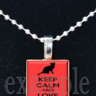 Keep Calm and Love Cats Tile Pendant Necklace Charm Key-chain