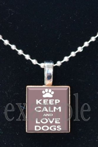 Keep Calm and Love Dogs Scrabble Tile Pendant Necklace Charm Key-chain