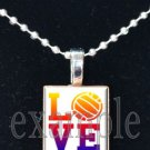 LOVE VOLLEYBALL Scrabble Tile Pendant Necklace Charm or Key-chain